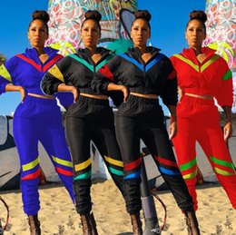 $enCountryForm.capitalKeyWord NZ - Women winter jacket outfits crop top leggings designer tracksuit outerwear pant two piece set sportswear striped coat sports pant sweatsuit