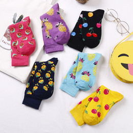 Discount socks fruit - Spring and Summer Men's Socks, Fruit Cartoons, Socks, Pineapple, Cherry, Cotton Socks, Individual Couple Tide Socks