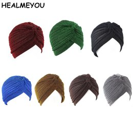 $enCountryForm.capitalKeyWord Australia - New Fashion Women Unisex Solid Wrinkle Indian Stretchable Turban Hats Beanies Caps For Women Ladies
