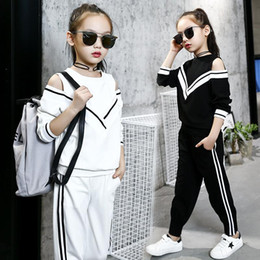 kids off white t shirts 2019 - girls tracksuits sets 2018 kids sports suits off shoulder long sleeve t shirts & pants sets for girl black white clothin