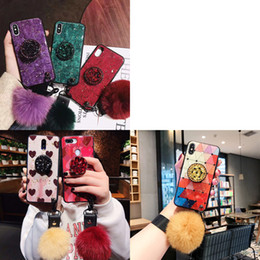 10 x max iphone Australia - Heart Marble Glitter Epoxy Stand Fur Ball Lanyard Case For iPhone 11 Pro XS Max XR X 8 7 6 Samsung S8 S9 S10 Plus 5G S10e Note 9 10 10+