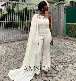 Wholesale pearl pants sexy resale online - African Women Jumpsuits Elegant Plus Size Formal Evening Dresses Sexy Pant Suits With Cape Cheap Pageant Bridesmaid Party Prom Dresses