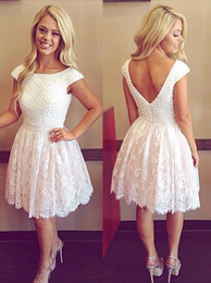 Cheap Short Backless White Dress Australia - Elegant White Lace Short Prom Dresses Cap Short Sleeves V Backless Pearls Lace Cheap Homecoming Party Dress Gowns New Designer