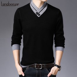 top korean clothing brands 2019 - 2019 New Fashion Brand Sweater For Mens Pullover Warm Slim Fit Jumpers Knitred Top Grade Autumn Korean Style Casual Men