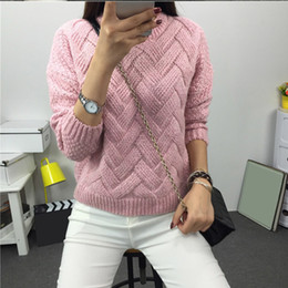 knitted mohair sweater Australia - Winter O-neck Women's Sweater Jersey Woman Mohair Knitted Twisted Thick Warm Lady's Pullover 2019 College Jumper Women Pink Gray V191019