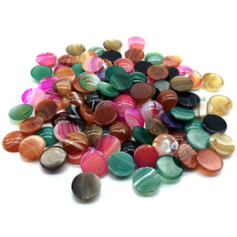 $enCountryForm.capitalKeyWord Australia - 20mm Natural Agate Stone Beads Semicircle Loose Mix Color Agate Stone Cabochon Beads For Jewelry Ring Pendant Earring Making