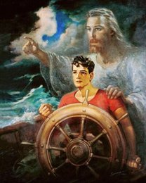 christ paintings UK - Warner Sallman CHRIST OUR PILOT Jesus Young Man on Boat in Storm Home Decor Oil Painting On Canvas Wall Art Canvas 200707