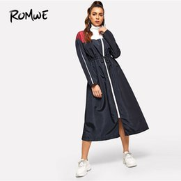 collared mid calf dress UK - Romwe Waist Drawstring Zip Color Block Dress 2019 Fashion Stand Collar H Cool Spring Autumn Casual Long Sleeve Women Dress Y190514