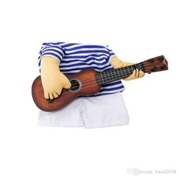 Media Player Australia - New Striped Funny Pet Guitar Player Cosplay Dog Costume Guitarist Dressing Up Party Halloween New Year Clothes For Small French Dog Cats
