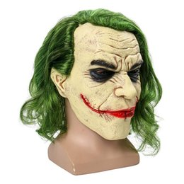 Wholesale batman cosplay online – ideas Joker Mask Movie Batman The Dark Knight Cosplay Horror Scary Clown Mask with Green Hair Wig Halloween Latex Mask Party Costume