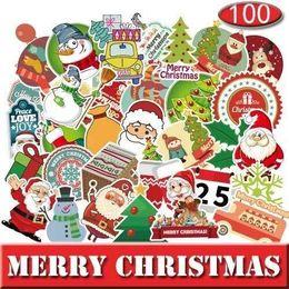 $enCountryForm.capitalKeyWord Australia - 100pcs Christmas Holiday Saint Claus Snowman Winter Sticker Car Skateboard Motorcycle Bicycle Luggage Laptop Bumper Wall Decals Pack