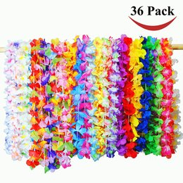 hawaiian party dresses Canada - 36pcs pack Hawaiian Garland Artificial Leis Flower Necklace Fancy Dress Beach Fun Party Supplies DIY Wedding Party Decoration