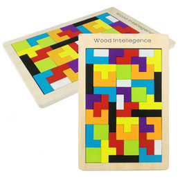 children brain games NZ - Candywood building block Kids Toys Wooden Tangram JigsawBoard Puzzles Brain Teaser Puzzle Tetris Game Educational Baby Child Kid Toy