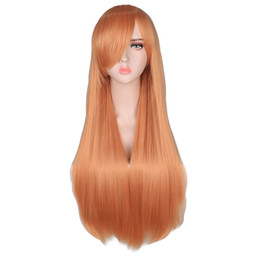 $enCountryForm.capitalKeyWord NZ - Long Straight Cosplay Red Black Puprle Pink Blue Sliver Gray Blonde White Oragen Brown 80 Cm Synthetic Hair Wigs