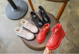 Boys tuBes online shopping - 2018 autumn children Martin boots bright cortex boys and girls low tube boots3 color of pure color