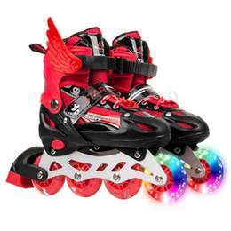 Wholesale BOYS GIRLS ROLLER BLADE SKATES INLINE ROLLER SKATES KIDS ADJUSTABLE 4 WHEEL