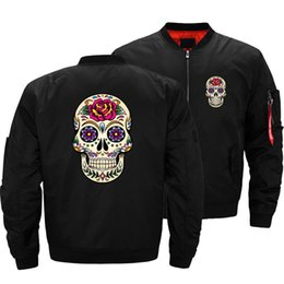 $enCountryForm.capitalKeyWord Australia - Men's Cool Day Of The Dead Sugar Skull With Rose Tile Jacket Mens Bomber Jackets Coats Ma1 Air Pilot Thick Windbreaker