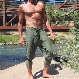 $enCountryForm.capitalKeyWord Australia - Mens Summer Army Green Black Khaki Capris Harem Pants Loose Sports Drawstring Pants Male Breathable Shorts