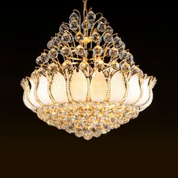 ClassiCal european art online shopping - Modern luxury crystal chandeliers lights European crystal led pendant lamp bedroom dinning room gold crystal chandelier lighting fixtures
