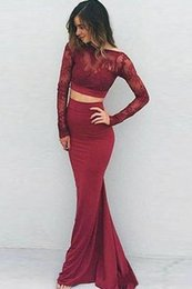 Back Two Piece Prom Dress Australia - Sexy Two Piece Burgundy Mermaid Prom Dresses 2019 Open Back Illusion Long Sleeves Lace Applique Cheap Cocktail Party Dress Evening Gowns