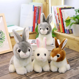 hairy toys 2019 - Plush White Rabbit Toy Doll Rex Ragdoll Birthday Present Short Plush Hairy Cotton White Gray Brown 1