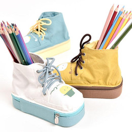 $enCountryForm.capitalKeyWord Australia - 1pcs cute canvas shoes office organizer 2 layers storage box with zipper&mirror pen holder pencil case kids school season gifts