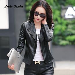 $enCountryForm.capitalKeyWord Australia - 1pcs Women Plus size short jacket blazers 2019 Spring faux fur Leather zipper splicing Jacket ladies Skinny locomotive blazer