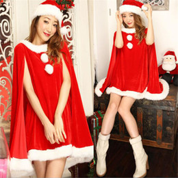 Wholesale santa costume female for sale – halloween Red and green Shawl Hot Diamond Santa Claus Christmas Clothes Female Adult Robe Cosplay Christmas Costumes