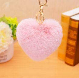 Golden Ball Jewelry Australia - 2019 Fashion Lovely Heart Shape Rabbit Fur Ball Golden Keychain Handbag PomPom Charm Key Ring for Women Jewelry Key Holde EH689