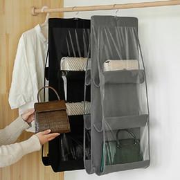 6 bolsillo colgante plegable de la bolsa de almacenamiento Organizador transparente bolsa de almacenamiento para los zapatos del armario Puerta pared Misceláneas bolsa en venta