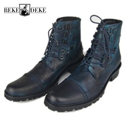 Safety Blocks Australia - Winter Men Genuine Leather Motorcycle Ankle Boots Lace Up Office Party Block Heels Martin Shoes Punk Safety Shoes Big Size Blue