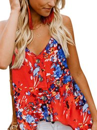 Wholesale Womens Summer Sexy Casual V Neck Sleeveless Button Print Camisole Fashion Hot Top Camis Femme Vest Tank Tops