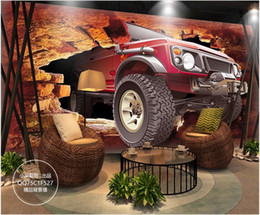 chinese 3d wall stickers UK - 3D wallpaper custom photo mural 3D broken wall off-road vehicle restaurant bar background wall stickers home decor wall art canvas pictures