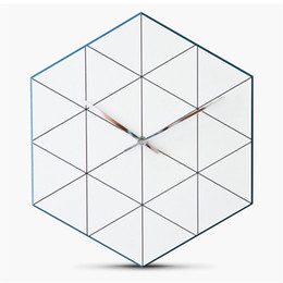 $enCountryForm.capitalKeyWord UK - Hexagon Pine Wood Wall Clock Advanced European Minimalist Geometric Lines Exquisite Artistic Silently Clock for Cafe Home Decor