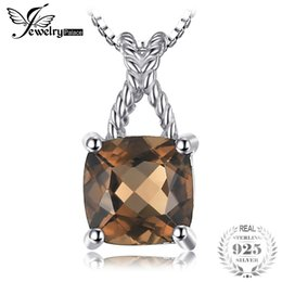 Quartz Pendants Australia - JewelryPalace Classic 0.93ct Square Natural Smoky Quartz Pendant 100% Real 925 Sterling Silver Fine Jewelry Not Include a Chain