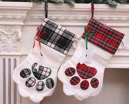 Pet Xmas Gifts Australia - Christmas Gift Bag Pet Dog Paw Stockings Animal Plaid Xmas Tree Decoration Socks Candy Bags Hanging Ornament P