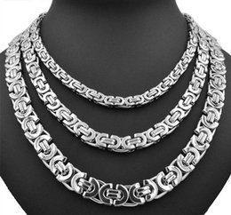 Discount 8mm rhinestone chain - Fashion Unisex Thick Silver Necklaces Stainless Steel Necklace Byzantine Link Silver Chain Men Women Necklaces Width 6mm