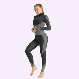 Discount seamless yoga set Front Zipper Top Leggings Set Women Fitness Seamless Gym Sets Sport Yoga Suits Workout Running Female Clothing Knit Acti
