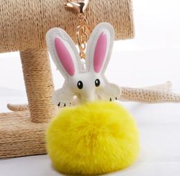 $enCountryForm.capitalKeyWord Australia - HYS279 18colors Cute Cartoon Bunny Keychain Double-sided Rabbit Fur ball Key Ring PU Rabbit Fur Ball Pendant New Female Bag Car Pendant DHL