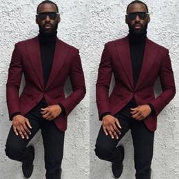 Beige Slim Suits For Men Australia - 2019 Burgundy Peak Lapel Men Suit Set Slim Fit Groomsmen Groom Tuxedos Men Suits For Prom Wedding Party (Jacket+Pants)