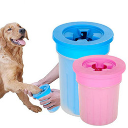 Plastic Dog Baths Australia - Pet Cats Dogs Foot Clean Cup for Dogs Cats Cleaning Tool Soft Plastic Washing Brush Paw Washer Pet Accessories for Dog