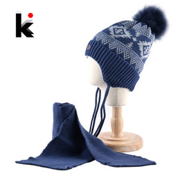 beanie ear flaps UK - K Brand Winter Hat And Scarf Children Knitted Thick Beanie With Faux Fur Pompom Kids Warm Ear Flap Cap Boys Girls Lovely Hat Set MX191116