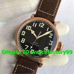 """Watch 45mm Australia - XF Hot sale Luxury Watch 45mm """"Real"""" Bronze Case Brown leather strap Miyota 9015 Automatic Sapphire Crystal Solid Case Back Mens Watch"""