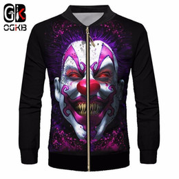 joker canvas print NZ - Ogkb Men&s Jacket Funny Print Smile Clown Joker 3d Baseball Jackets Coats Man Hiphop Streetwear Tracksuits Outwears Blouse 6xl