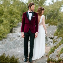 Velvet Classic Jacket Australia - Burgundy Velvet Latest Coat Pants Designs Men Suits for Wedding Groom Tuxedos Two Piece Costume Homme Smoking Jacket Slim Terno Masculino