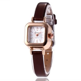 $enCountryForm.capitalKeyWord Australia - Women' s Fashion quartz Watch Leather dress Ladies Pink PU Leather Band Wrist Watch Square Dial Bracelet Women