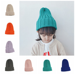 baby knits free patterns NZ - Baby girl boy top beanie hats candy colors multi knit pattern toddler kids outdoor warm winter crochet hats
