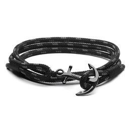 Wholesale Tom hope bracelet size Handmade Triple Black thread rope bracelet stainless steel black anchor charms bracelet with box and tag TH6