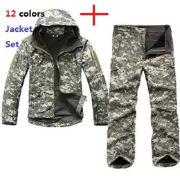 Wholesale military green white clothing for sale – custom Fashion Tactical TAD Gear Soft Shell Camouflage Outdoor Jacket Set Men Army Sport Waterproof Hunting Clothes ACU Military Jacket Pants