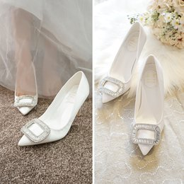 $enCountryForm.capitalKeyWord Australia - 1Sharp Rhinestone Full Dress Wedding Dress Bride Shoe White High-heeled Shoes Woman Fine With Small Shoes 31 32 33